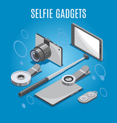 isometric selfie gadgets background vector image