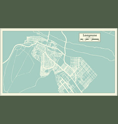 Laayoune sahara city map in retro style outline vector