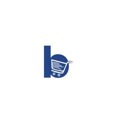 Letter b shopping logo design vector