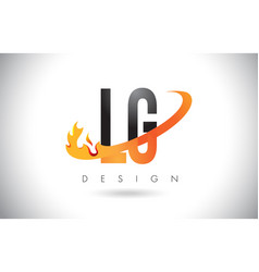 lg l g letter logo with fire flames design and vector image