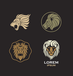 lion logo design icon set vector image