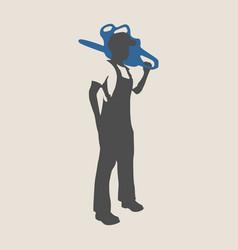 Lumberjack worker silhouette vector