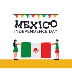 mexico independence day friends with mexican flag vector image