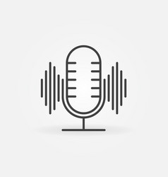 microphone with sound wave linear concept vector image