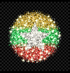 myanmar flag sparkling badge vector image