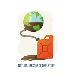 natural resource depletion planet and canister vector image