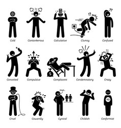 negative personalities character traits stick vector image