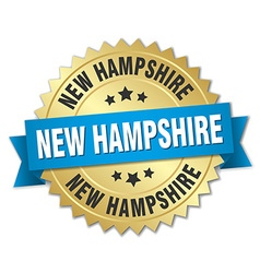 New Hampshire round golden badge with blue ribbon vector