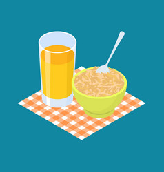 oat porridge and fruit juice breakfast healthy vector image