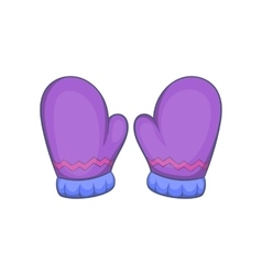 Pair of warm mittens icon cartoon style vector image