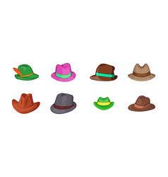 panama hat icon set cartoon style vector image