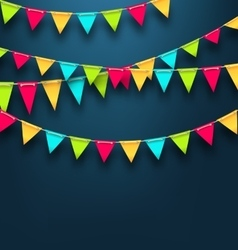 party dark background with bunting flags vector image