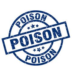 Poison blue round grunge stamp vector
