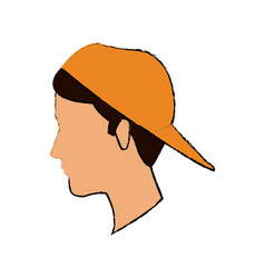 profile man character wear cap face image vector image