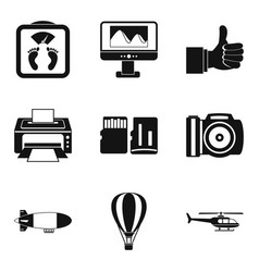 Radio positioning icons set simple style vector