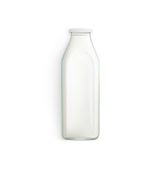 realistic 3d milk bottle isilated on white vector image