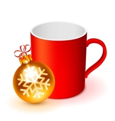 Red Cup and Christmas Ball vector