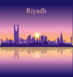 riyadh city silhouette on sunset background vector image