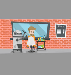 Robot hairdresser making haircut to a hipster man vector