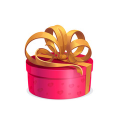 Round holiday gift with golden bow box vector