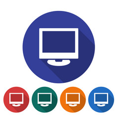 Round icon of computer lcd monitor flat style vector