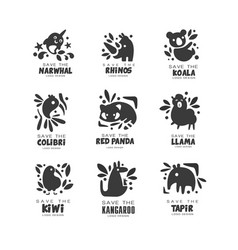 Save wild animal logo design set protection of vector