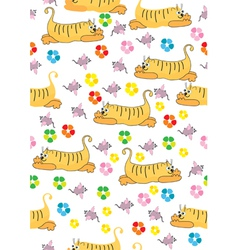 Seamless background with orange cat and pink mouse vector