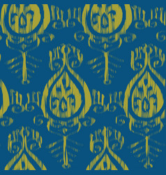 seamless ikat blue and yellow pattern vector image