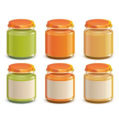 Set baby food puree jar template mockup design vector