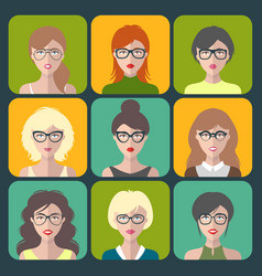 set different women app icons in glasses vector image