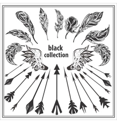 Set of black decorative feathers wings and arrows vector image