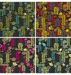 Set of colorful seamless patterns with flowers vector image