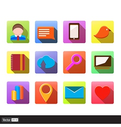 Set of flat social media icons vector