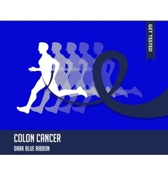 Sport Man with Running Blue Ribbon Colon Cancer vector image