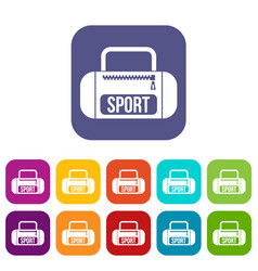 sports bag icons set vector image