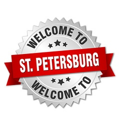 St Petersburg 3d silver badge with red ribbon vector