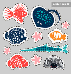 Sticker marine set vector