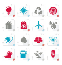 stylized ecology nature and environment icons vector image