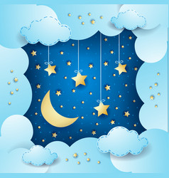 Surreal cloudscape with moon and hanging stars vector