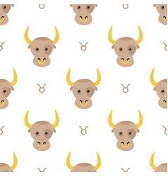 taurus zodiac sign seamless pattern vector image