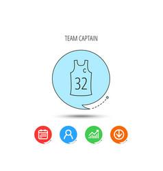 Team captain icon basketball shirt sign vector