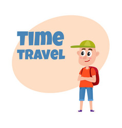 Teenage boy tourist with backpack wearing shorts vector
