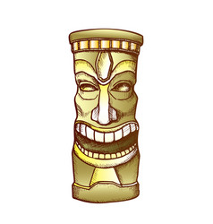 Tiki idol carved wooden laughing totem color vector