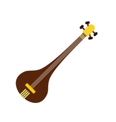 Traditional Indian sarod icon flat style vector