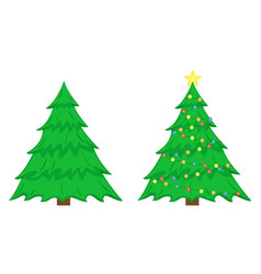 two christmas trees christmas tree vector image