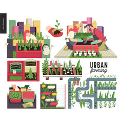 Urban farming and gardening set vector