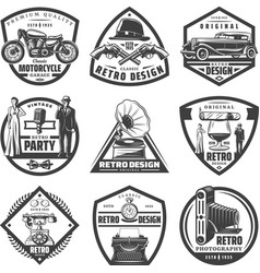 vintage retro labels set vector image