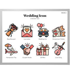 Wedding icons linecolor pack vector