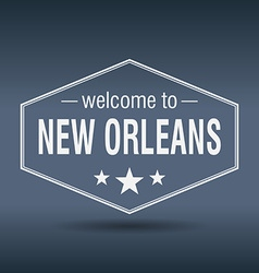 Welcome to New Orleans hexagonal white vintage vector