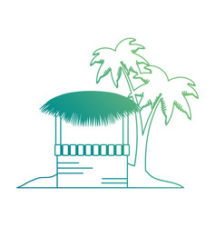 Wooden kiosk and palm leaves on the beach vector